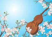 Violín de vector en el jardín de primavera — Vector de stock