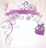 Pink heart retro card — Stock Vector