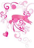 红色的心复古 stylevalentines 天图为爱的 — 图库矢量图片