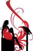 Doku kız siluet oturma — Stok Vektör