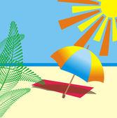 Vector illustration of sunny beach — Stock Vector