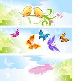 Verano con fondo de mariposas — Vector de stock