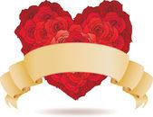 červená grunge srdce pozadí s květinami — Stock vektor