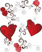 Fondo de corazón rojo grunge con flores — Vector de stock