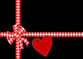 Red heart corner vector illustration — Stock Vector