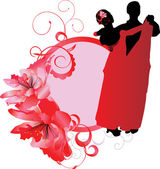 Young couple dancers cool vector — Stock Vector