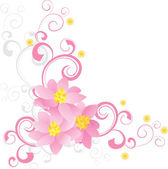 Decorate side with pink flowers vector — Vecteur