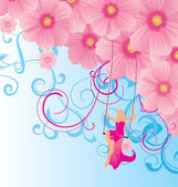 Pink flowers cosmos and woman in gown sitting on the swings — Stock Vector