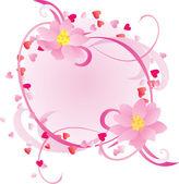 Decorar el lado con el vector de flores rosadas — Vector de stock