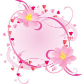 Decorate side with pink flowers vector — Stockvektor