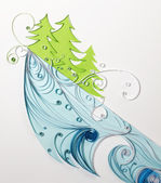 Quilling and snowy mountain — Stock Photo