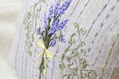 Provence style embroidery pillow with lavender illustration — Stock Photo