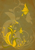 Vintage yellow flowers on brown background — Stock Photo
