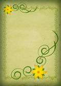 Vintage yellow flowers on green background — Stock Photo