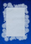Old paper blue and white snowflakes frame — Stock Photo