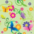 Butterflies and flowers  background — Stock Vector