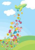 самолет и цветы — Cтоковый вектор