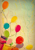 Colorful balloons on old paper background — Stock Photo