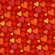 Stock Photo: Red hearts border on old grunge paper