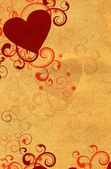 RED HEART FLOURISHES BLANK OLD PAPER — Stock Photo