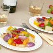 Stock Photo: Dinner with wine and vegetables