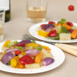 Dinner with wine and vegetables — Stock Photo