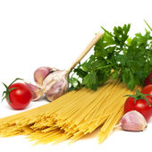 Spaghetti preparation, square image — Stock Photo