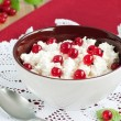 Cottage cheese and red berries — Stock Photo