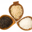 Three kinds of rice — Stock fotografie