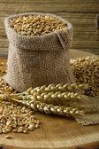 Wheat in small burlap bag — Stock Photo