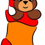 Cartoon Bear in Christmas sock — Stock Vector #2109041