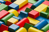 Toys blocks, multicolor wooden bricks, group of colorful building game piece — Stock Photo