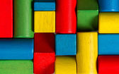Toys blocks, multicolor wooden bricks, group of colorful building game pieces — Stock Photo