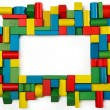 Toys blocks frame, multicolor wooden building bricks, group of colorful game piece — Stok fotoğraf #41877221