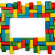 Toys blocks frame, multicolor wooden building bricks, group of colorful game piece — Stock Photo