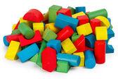 Spielzeug-blöcke, multicolor holzgebäude ziegeln, haufen bunte spielsteine — Stockfoto