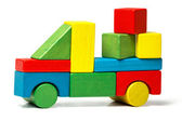 Toy truck, multicolor car wooden blocks transportation, cargo delivery, over white background — Stock Photo