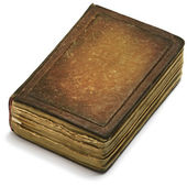 Old book cover brown paper over white background. Weathered ancient pages — Stockfoto