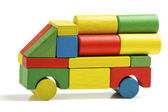 Car toy blocks, multicolor truck wooden freight transportation, cargo delivery, isolated white background — Stock Photo