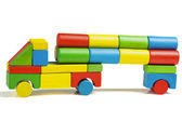 Toy car, multicolor truck wooden blocks transportation, cargo delivery, isolated white background — Stock Photo