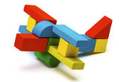 Toy airplane, multicolor wooden blocks air plane transport isolated white background — ストック写真
