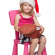 Little santa with present — Stock Photo