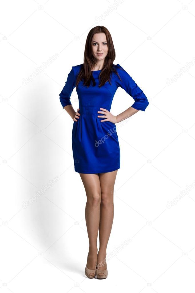 时装模特身穿蓝色衣服的情绪 — 照片作者 wacpan