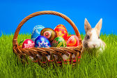 Easter egg and bunny in basket — Stock Photo