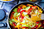 Hot vegetarian asian food — Stock Photo