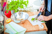 Cook in the kitchen at work — Stock Photo