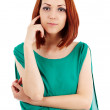 Pensive redhead lady — Stock Photo