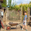 Cute boy pushing a barrow at countryside - Lizenzfreies Foto