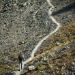 Man walking on mountain trail, hiking to the top — Stock Photo #12900335