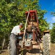 Senior farmer repairing the engine of his tractor in an orchard — Stock Photo #12900368